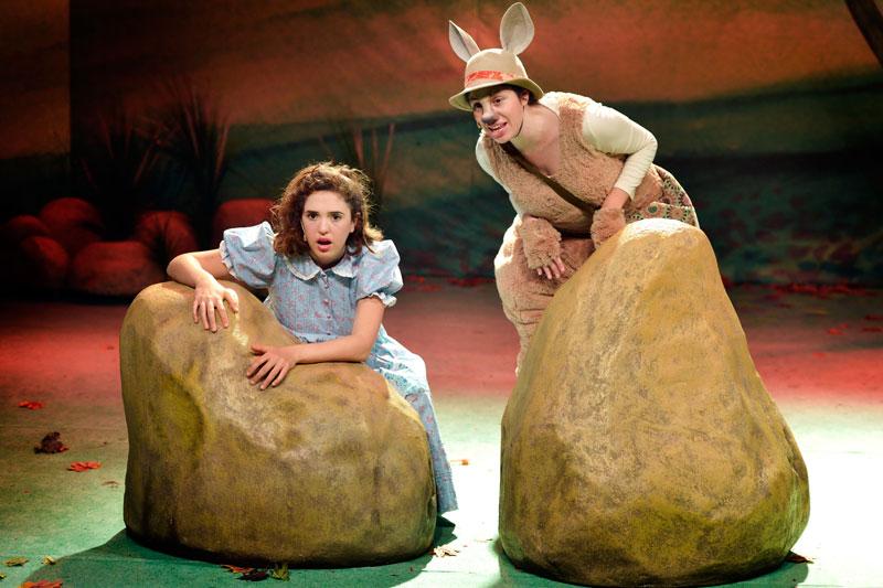 דוט והקנגורו מתחבאות מאחורי סלעים ומסתכלות