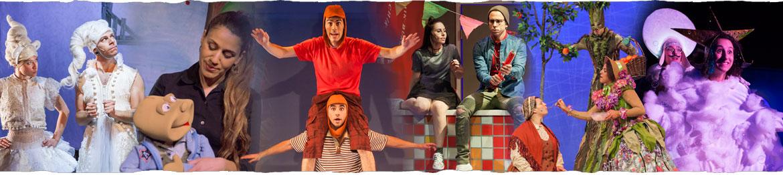 קולאז' של צילומים מהצגות שונות שהתיאטרון ממציג לאורך השנה
