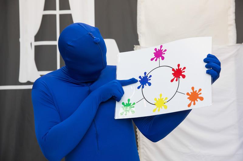 הדמות הכחולה מצביעה על כתמי צבע